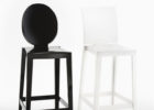 Round Back Bar Stools Black with Back