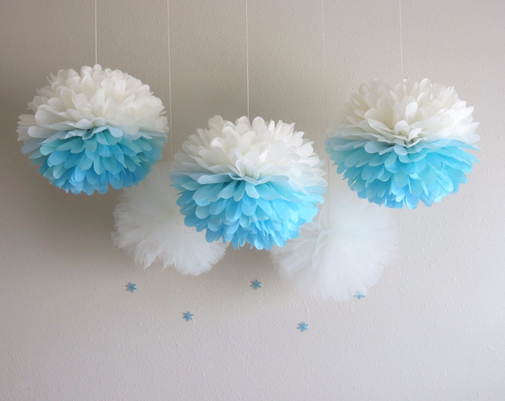 Winter Home Decor Ideas-Frozen-Pom-Poms-Frozen-Party-Ombre-Pom-Poms-Frozen-Decorations-Winter-Wonderland-Party-Poms-tulle-Pom