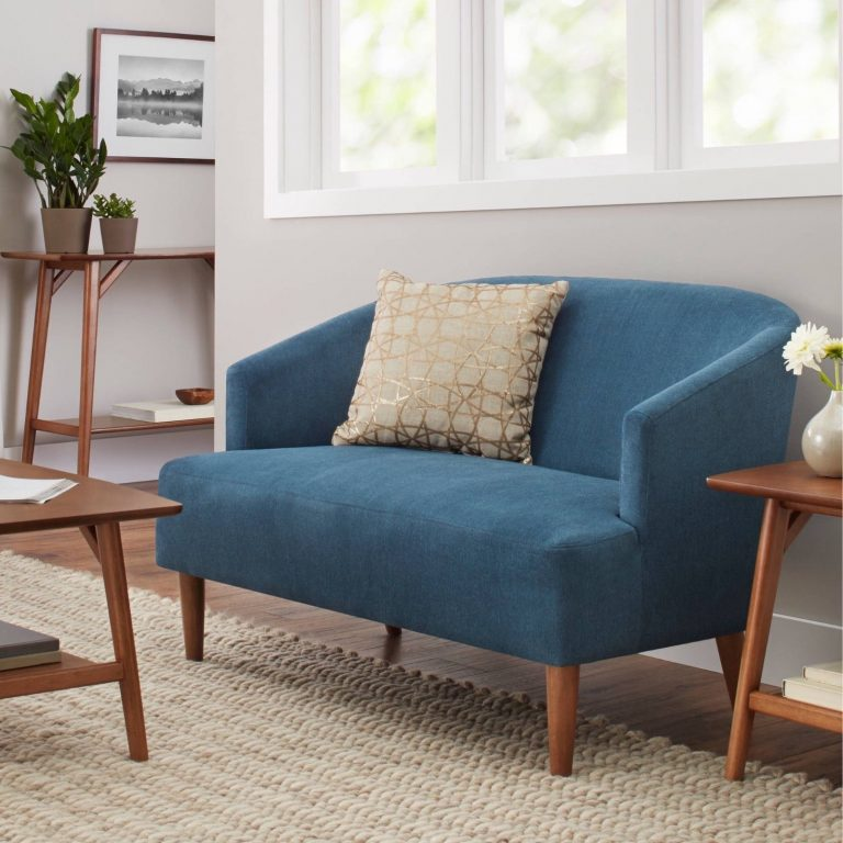 blue Mid Century Modern Loveseat for awesome living room