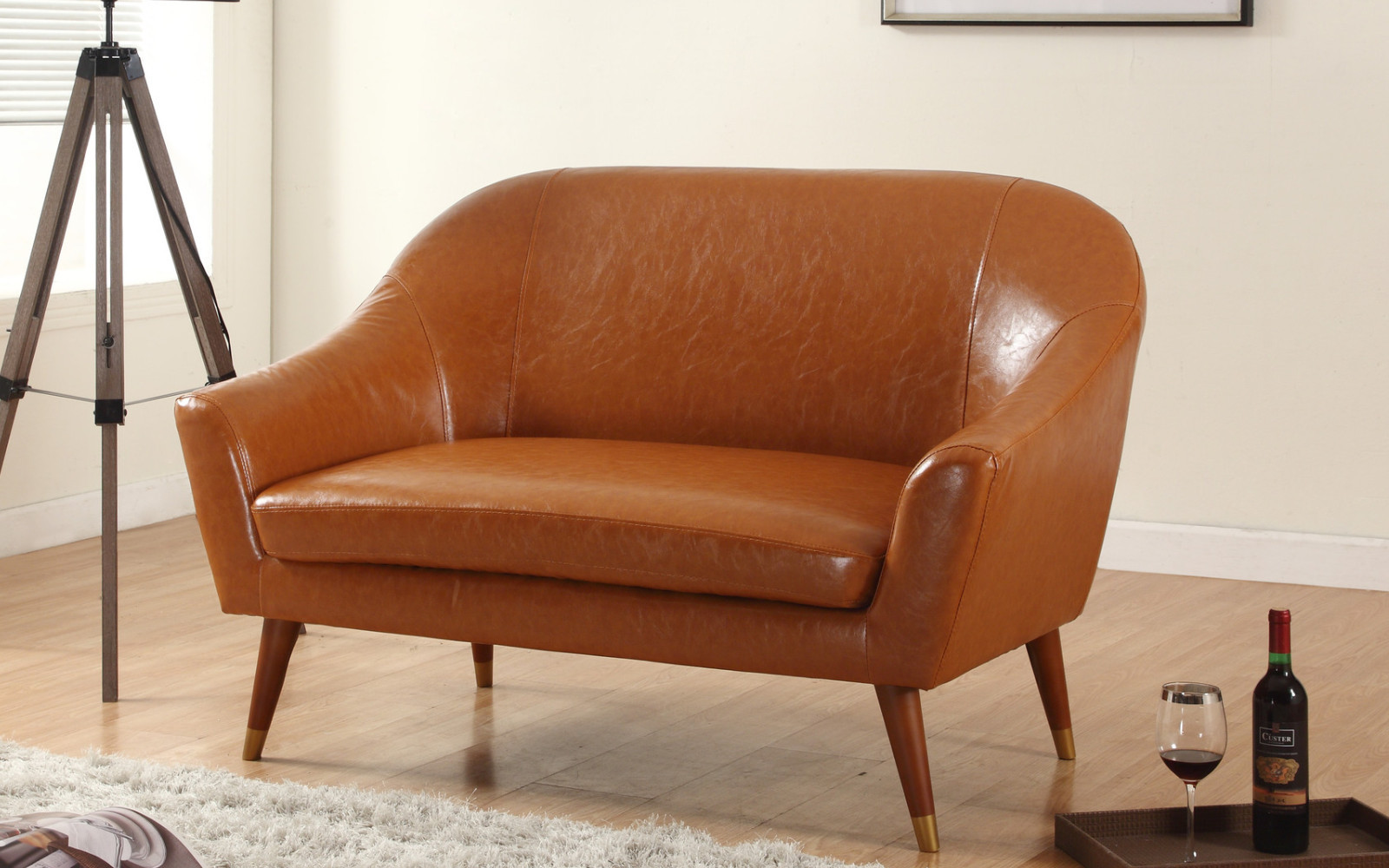 brown leather Mid Century Modern Loveseat