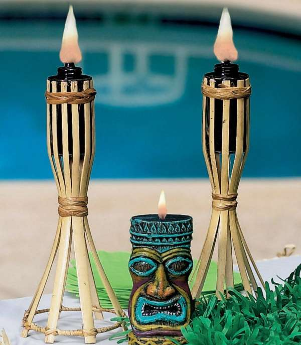 table top tiki lights Beach Themed Party Decorations