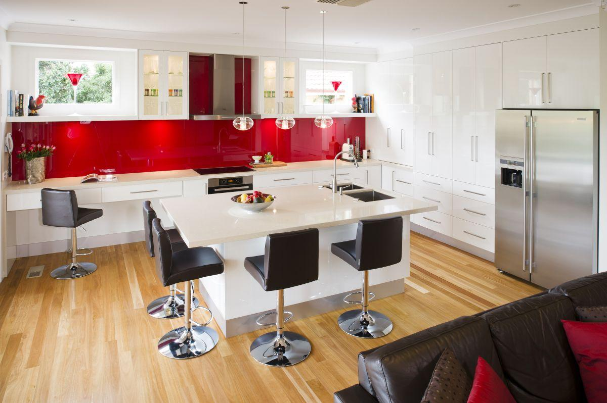 White Red Kitchen And Canisters Cabinets Chairs Black