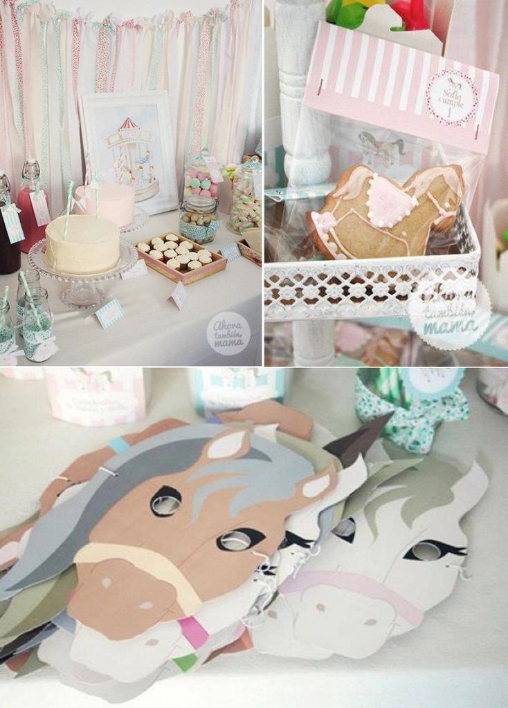 horse party supplies-carousel-horse-vintage-party-ideas-birthday-cake-decor-idea