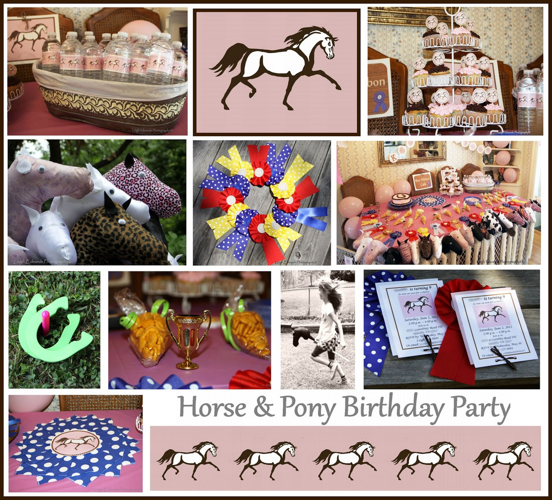 horse themed party-Horse+Birthday+Party+Collage-horse party decorations