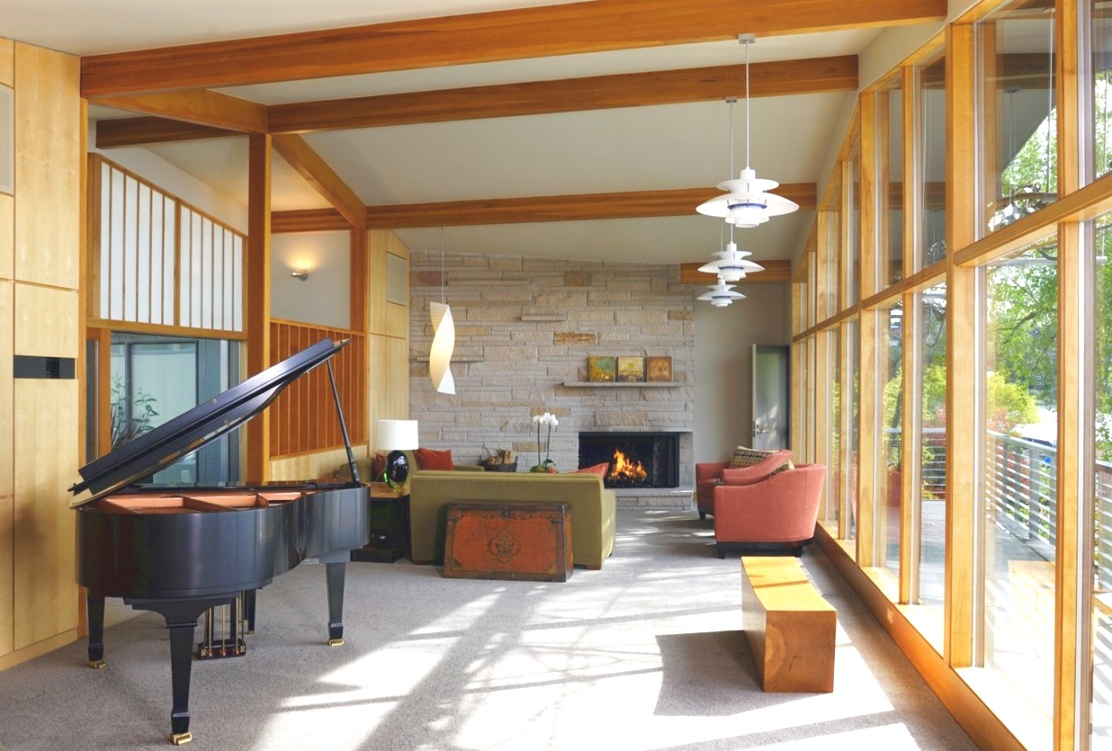 mid century modern piano | Mid century modern living room ideas with piano and fireplace ..