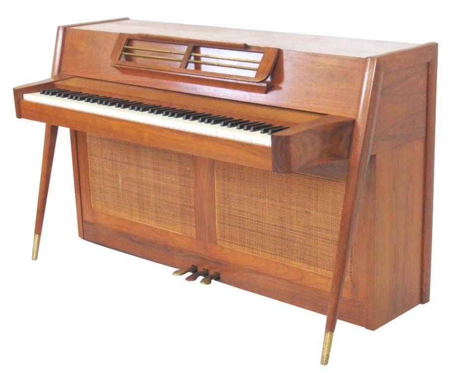 mid century modern piano   DANISH MODERN CANED ACROSONIC PIANO   mid century modern piano