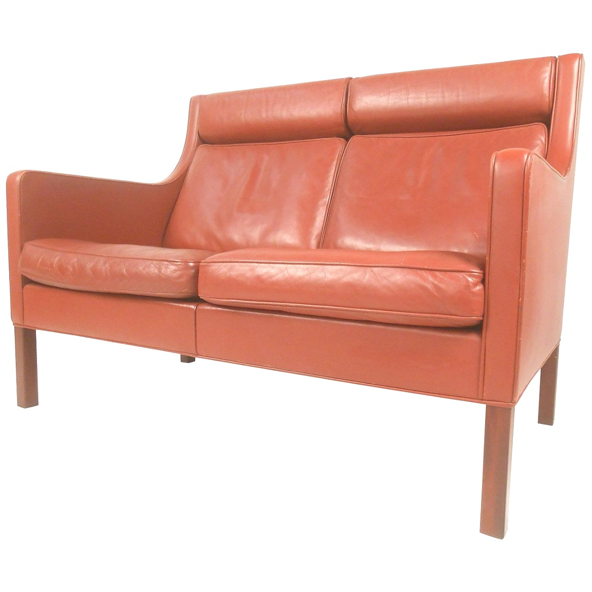 mid century modern loveseat | Mid-Century Modern Leather Fredericia Loveseat by Borge Mogensen ..